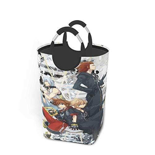 Kingdom Hearts - Cestas de lavandería con asas plegables, impermeables, duraderas, 50 l, gran capacidad, 22,7 pulgadas, cestas de lavandería cuadradas para dormitorio, baño, dormitorio, armario, almac