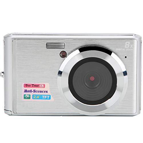 Cámara Digital, cámara con Zoom Digital de 8X Cámara para niños de 21MP, cámara de Video con Pantalla a Color TFT de 2.4 Pulgadas con Tarjeta de Memoria de 64 GB(Plata)