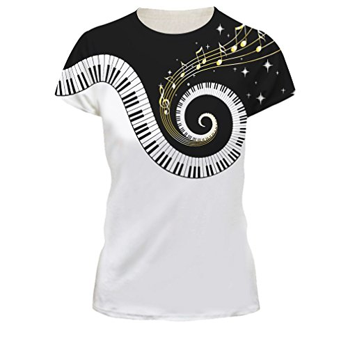 Unisex 3D Digital Impreso Personalizado Manga Corta Camisetas Tees Tops (Música de piano, Large/X-Large)
