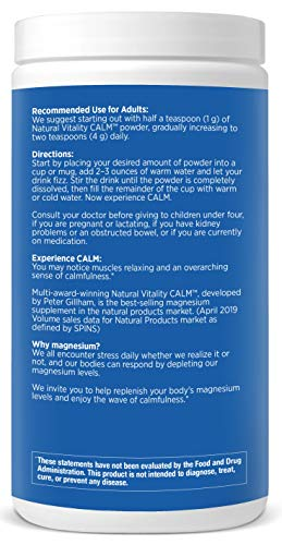 Natural Vitality Calm #1 Selling Magnesium Citrate Supplement, Anti-Stress Magnesium Supplement Drink Mix Powder- Raspberry Lemon, Vegan, Gluten Free and Non-GMO (Package May Vary), 16 oz 113 Servings