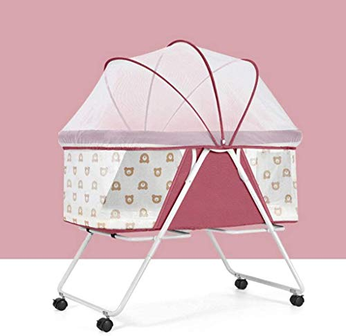 Great Features Of HIZLJJ 2 in 1 Bedside Cot for Newborn Baby, One-Second Fold Travel Crib with Detac...