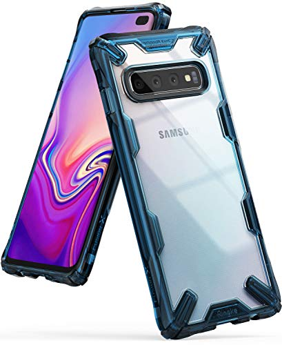 Ringke Fusion-X Designed for Galaxy S10 Plus (6.4') Case, Built in Dot Matrix Rear PC Anti-Cling Renovated Bumper Military Drop Tested Defense Double Protection for Galaxy S10 Plus - Space Blue