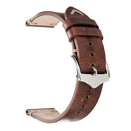 22mm Watch Strap,EACHE Oil Wax Leather Watchband,Men Women Watch Replacement,Light Brown