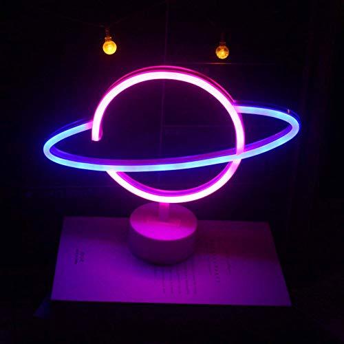 Porcyco Letrero de neón Planet con base, luces de letrero de neón LED Luces de lámpara de mesa Luz de noche azul rosa Luces USB/batería para además de la decoración de la sala de la mesa