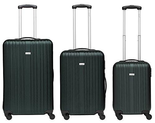 Packenger Kofferset - Line - 3-teilig (M, L & XL), Dunkelgrün, 4 Rollen, Koffer mit Zahlenschloss, Hartschalenkoffer (ABS) robuster Trolley Reisekoffer