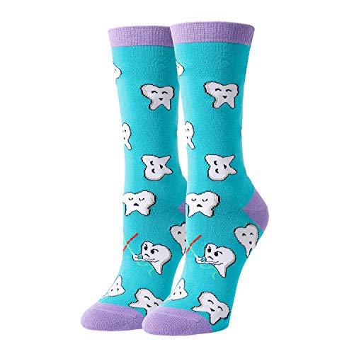 HAPPYPOP Teeth Socks Women, Funny Dental Assistant Gifts For Dentist Hygienist in Blue