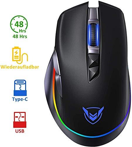 Holife Gaming Maus kabellos wiederaufladbare mit RGB, max 10.000 DPI & 8 programmierbare Tasten(Feuertaste), ergonomisch Wireless Gaming Maus, Langer Stunden Akkulaufzeit, optische Pc Maus Schwarz