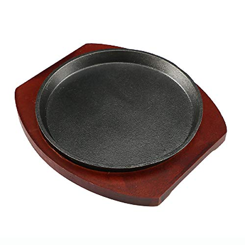 Sizzle Platter Cast Iron, Cast Iron Steak Platter with Wood Base for Restaurant Home Kitchen Cooking Pan Grilling Meats Seafood, Environmentally Friendly and Healthy Coating (Size : 30cm)