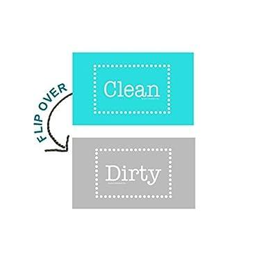 3.5  X 2  Double Sided Dishwasher Flip CLEAN & DIRTY Premium 45 mil Dishwasher Magnet MADE in USA (Aqua & Gray Polka Dot)