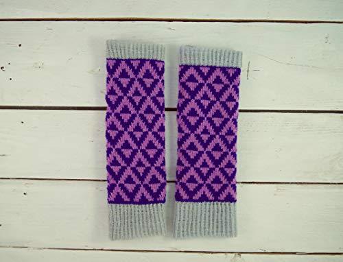 Lila Strickhandschuhe ohne Finger Strickhandschuhe ohne Finger Damen Wollhandschuhe Herren Wollhandschuhe Strickhandschuhe mit Finger Wollhandschuhe