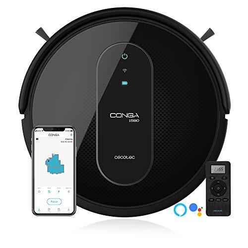 Cecotec Robot Aspirapolvere Conga Serie 1590 Active. 1400Pa, Alexa & Google Assistant, Sistema iTech SmartGyro 2.0,App, Spazzola per animali domestici, Parete magnetica