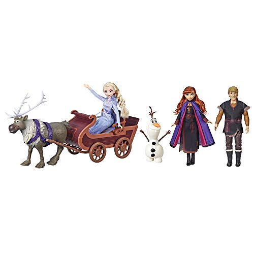 Disney Frozen Sledding Adventures Doll Pack, Includes Elsa, Anna, Kristoff, Olaf, and Sven Fashion Dolls with Sled Toy Inspired by the Disney Frozen 2 Movie JungleDealsBlog.com