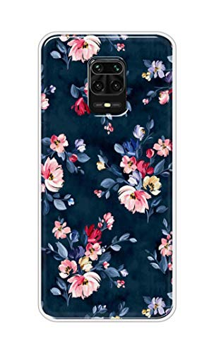 Oye Stuff Blue Floral Soft Silicone Designer Printed Full Protection Back Case Cover for Mi Redmi Note 9 Pro Max