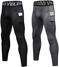 Junyue 2 Packs Cold Weather Running Gear for Men Workout Tights with Pockets Youth Compression Pants Base Layer Football Cycling, #290-black+gray, Large