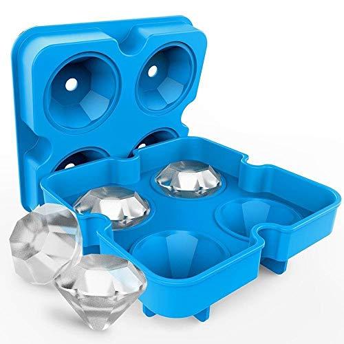 ZHHOOHAG Cubiteras para Hielo Silicona Silicona Hielo Cubo Bandeja Molde Forma Diamante 4 grillas Helado Fabricante Molde Fruta Cubo moldes Cubitera Silicona (Color : Blue)