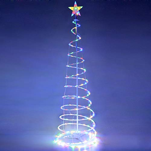 YeStarry LED Spiral Christmas Tree Light 5ft 141 LEDs Battery Powered for Indoor Outdoor Holiday Decoration Lamp Multi-Color