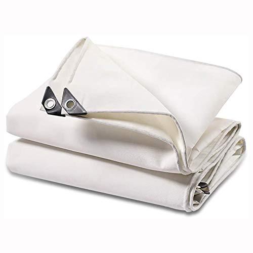 ZHANGYUQI Tarpaulin Waterproof, Sheet Premium Cover Tarp For Outdoor Camping, Heavy Duty Tarpaulin Garden Shed Rainproof Tent Tarps(Color:White,Size:6×6m)