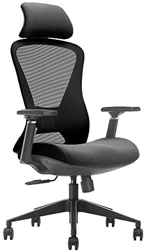 CLP Bürostuhl Louisville I Ergonomischer und Höhenverstellbarer Schreibtischstuhl, Farbe:schwarz