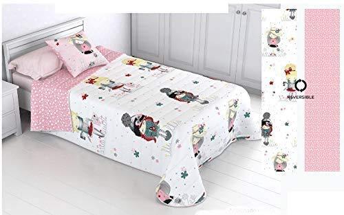 HM'S HOME'SECRET Kinder-Tagesdecke, wendbar, 100 % mit Kissenbezug und Baumwollgefühl, für Mädchen CAMA 90 (180X270)