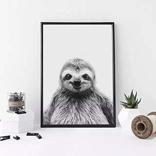 Nordic Black and White Lächelnde Faultier Minimalist Leinwand Malerei Poster Drucke Wandkunst Bilder für Wohnzimmer Home Decoration-50x70cm Roll Canvas