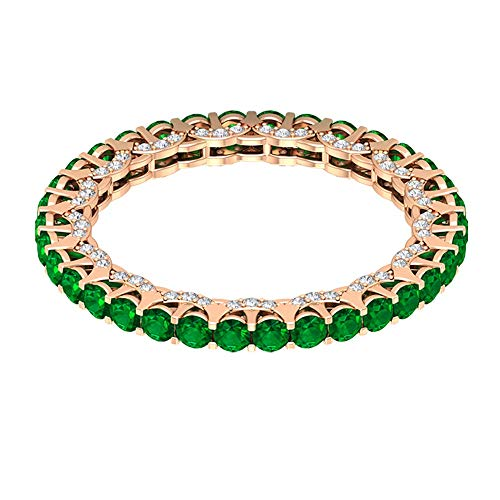 1.36 Ct Certified Lab Created Emerald Wedding Band Ring, 0.37 Ct Classic Diamond Gold Eternity Ring, Anniversary Promise Ring, Unique Gemstone Bridal Ring, 18K Rose Gold, Size:UK P1/2