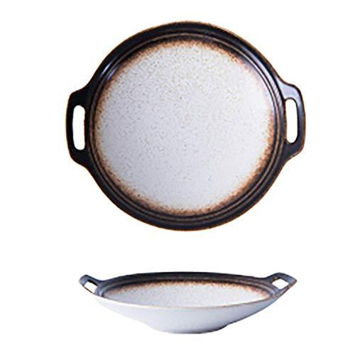 Cuenco especial para cocina de inducción fabricado Placa de cerámica Vajilla duradera con conjunto de mango Placa de servir adecuada para desayuno y ensaladas Recolección familiar y uso de la cocina