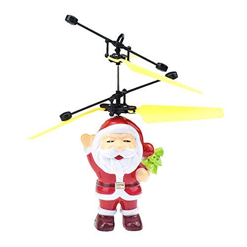 RC Fliegender Weihnachtsmann Fernbedienung, LED RC Flying Flugzeug Helikopter mit Handsensor Infrarot Mini Hubschrauber Fliegendes Spielzeug, Flying Ball für Kinder Erwachsene