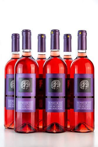 6x 750ml Vin de Crete Rosewein trocken 11,5% Michalakis kretischer Rose Wein griechischer Tafelwein im 6er Set + 2x 10ml Olivenöl zum testen