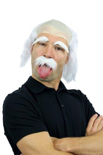 WIG ME UP- 3893-P68 Kit: Peluca Bigote Cejas Blanco Carnaval Halloween Einstein Abuelo, Viejo, científico Loco, Mad Scientist, Profesor