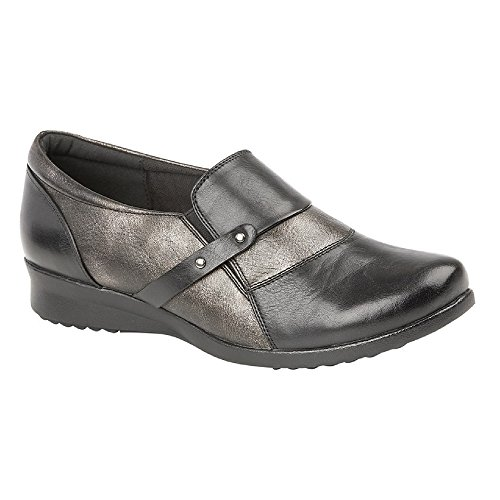Boulevard - Zapato cómodo Acolchado para Mujer señora (38 EU) (Negro/Metalizado)