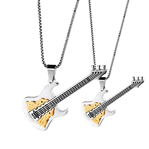 Serired Collar Pareja Amante La Guitarra DeAcero Inoxidable 316L, Joyería Colgante Personalizada, Regalo Estilo Musical Rock Hip Hop para Hombres y Mujeres,Beige