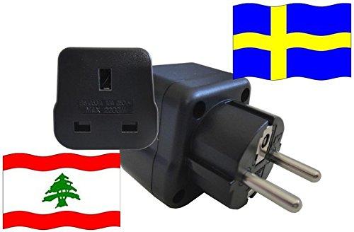 Reisestecker für Schweden - Urlaubsadapter Libanon mit Schutzkontakt