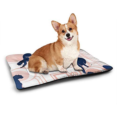NA Deco Gatsby Panthers Jumbo Hundematte, Weiß, Marineblau und Metall, weich, mit Rutschfester, maschinenwaschbarer Matratze, für Hunde und Katzen, 78,7 x 53,3 cm