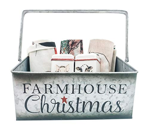 """Farmhouse Christmas Lovers Kitchen Gift Set- 3 Farm Life Themed Kitchen Towels, Cow and Pig Salt and Pepper Shaker Set Packaged in a """"Farmhouse Christmas"""" Metal Gift Box with Handles (Large)"""