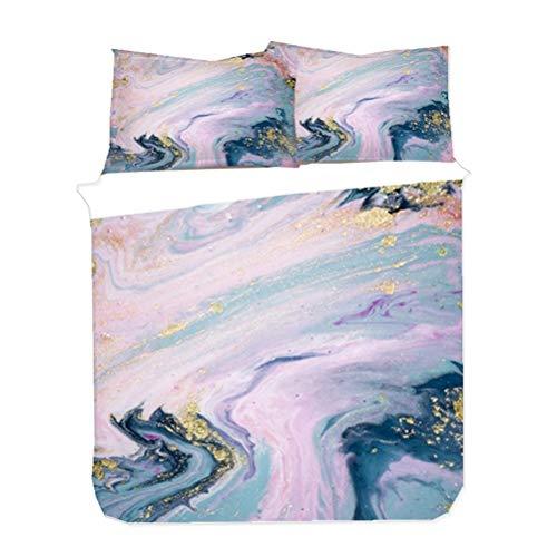 Duvet Cover Set Aesthetic Modern Marble Gilt Art Bedding Set Boy Girl Gray Blue Green White Black Golden (Pink,135x200 cm)