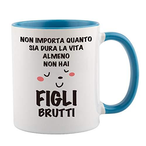 Taza de cerámica para madre – al menos Non hai Hii Brutti – Regalos de cumpleaños para la madre de parte de hija / hijo / marido, idea regalo para el día de la madre / mejor taza de cerámica 330 ml