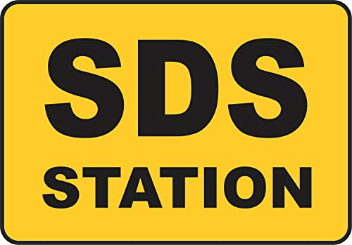 Etiqueta - Seguridad - Advertencia - SDS Station Sign 177mmx 254mm - Decal for Office - ficina, empresa, escuela, hotel