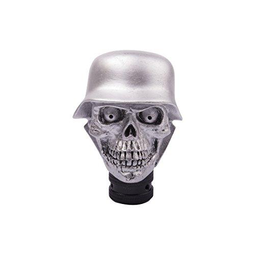 SMKJ Universal Auto Schaltknauf Aluminium Totenkopf Skull Schaltknüppel Shifter Knob für most Manuelles oder automatisches Getriebe Ohne RGA-Silber