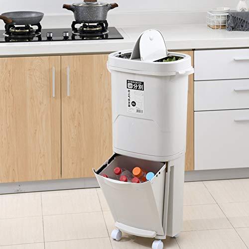 45L Bote de Basura Doble Capa, Multifuncional Cubo de Basura con 2 Compartimentos para Reciclaje, Separación Húmeda y Seca, Mango Cómodo, Materiales Ecológicos   85.5 x 45 x 29cm