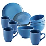 UNITED COLORS OF BENETTON. PK1994 Set 26 Color Azul, en Porcelana: vajilla de 18 Piezas (6 Servicios Llano, Hondo y Plato de Postre), 4 Boles de Desayuno, y 4 Tazas Mugs, Gres