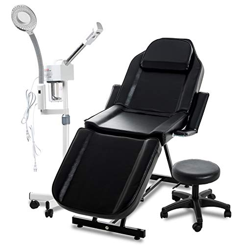 SUNCOO 2-1 Facial Steamer with 5X Magnifying Lamp Hot Spray and Massage Table Facial Bed Chair with Adjustable Portable Stool Removable Headrest Facial Cradle Towel Holder for Spa Salon Tattoo Black