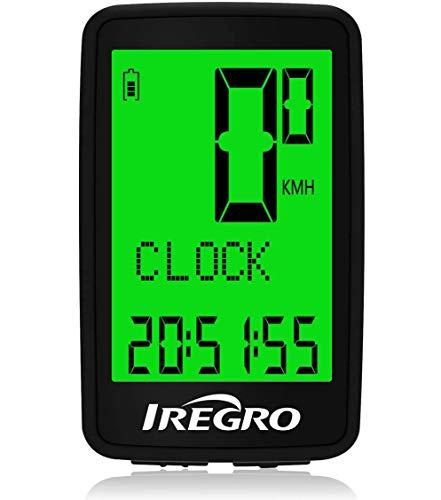 IREGRO Cuentakilómetros para Bicicleta,USB Recargable inalámbrico Impermeable velocímetro de Bicicleta Usuario A/B retroiluminación LCD 5 Pantallas de Idioma para Ciclismo Speed Track Distancia
