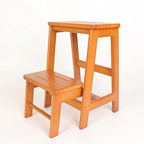 LJHA Tabouret pliable Repose-pieds créatif en bois solide/tabouret d'échelle/échelle pliante/escabeau multifonctionnel tabouret 54 * 38 Cm chaise patchwork (Couleur : A)