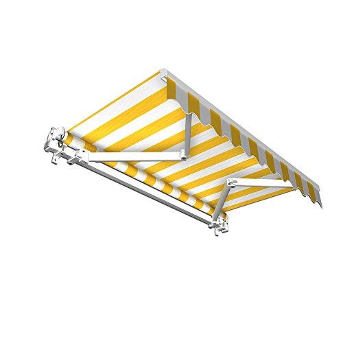 jarolift Gelenkarmmarkise Basic Balkonmarkise Sichtschutz für Terrasse, 350 x 300 cm (Breite x Ausfall), Gelb-Weiss Blockstreifen