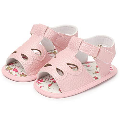 WanXingY Sandalias de bebé 0-18 Meses Bebé recién Nacido Mocasines para niños Sandalias de Playa para niños Baby Summer PU Cuero Hollow Baby Girl Boy Shoes (Color : Rosado, Size : 3)