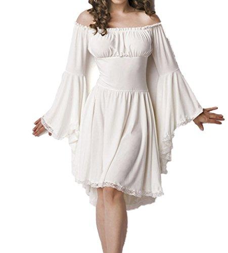 Weißes Mittelalter Kleid aus Jersey mit Trompetenärmeln und Carmenausschnitt Spitzenbesatz Mittelalteroutfit mit Raffung Piraten M
