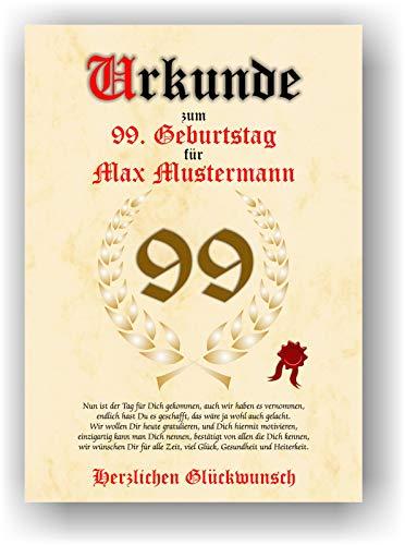 Urkunde zum 99. Geburtstag - Glückwunsch Geschenkurkunde personalisiertes Geschenk Oma Opa mit Name Gedicht und Spruch Karte Präsent Geschenkidee Mann Frau DIN A4