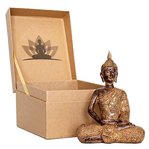 "Buddha Statue 8"" Small Figurine Statue in Premium Gift Box. Thai Buddha decor for home or office."