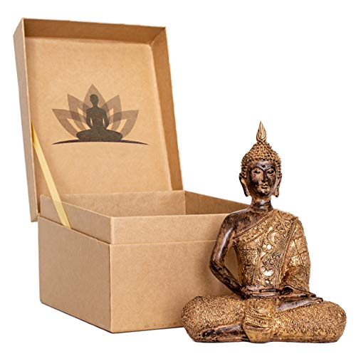 Arisen Meditation Buddha Statue presented in premium Gift Box. Give a beautiful meditation gift to someone special.