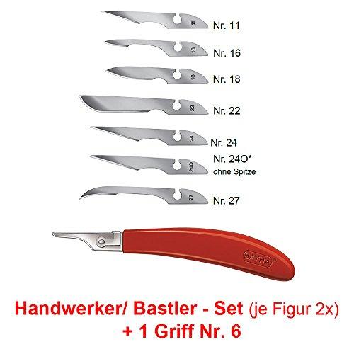 Handwerker Set: 14x Bayha Mix Skalpellklingen und Griff Nr.6 von Kosmetex, einzeln verpackt, Set: Handwerker - Griff